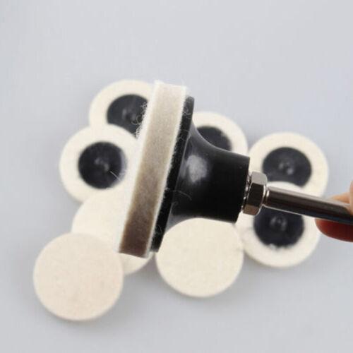10x 50mm Wolle Stützteller Schleifteller Klettteller Polierscheibe Mit 1 Schaft
