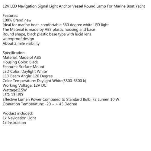 LED Navigationslichter Positionslicht Positionsleuchte Boot Yacht 360°//12V Weiß