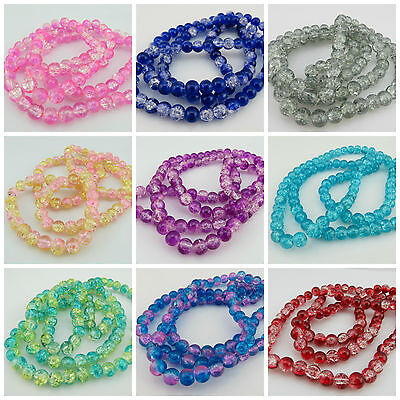 NEW ARRIVAL 100PCS 8MM TWO TONE CRACKLE GLASS ROUND BEADS for JEWELLERY MAKING