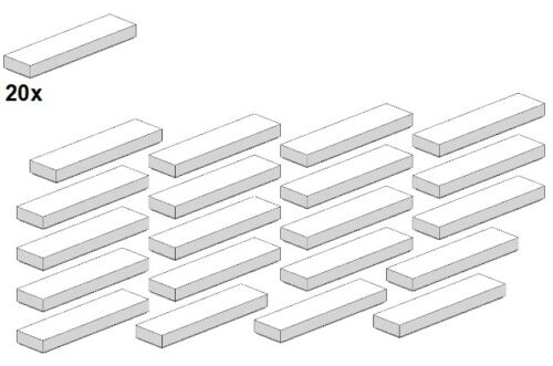20stk - loseta-blanco 2431-05 smooth parts-White 1x4 Lego ®