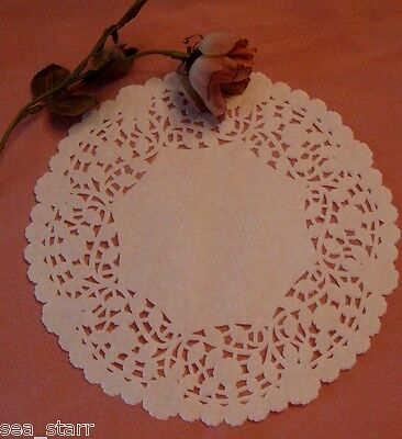 """25 ❤ PCS 8"""" INCH WHITE PAPER FLOWER BORDER LACE roses CRAFT DOILY ROUND ❤wedding"""