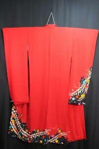 13a5583 Silk Plus Size Tall Japanese kimono FURISODE Butterfly