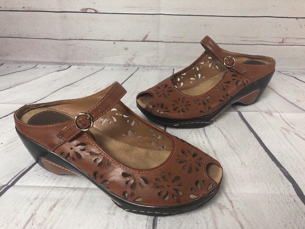 Rialto Comfort Women 10 M Mary Brown Wedge Peep Toe Mary M Jane Mule Shoe Laser Cut 28eaad