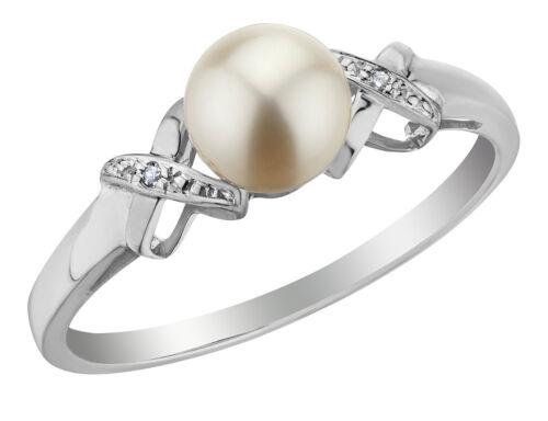 Freshwater Pearl Bague Avec Diamants En 10K or Blanc