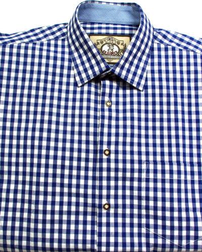Trachtenhemd Bleu Blanc à Carreaux Coton XS à 5xl Classique Nouveau Design