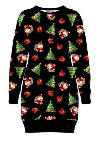 Womens Christmas Santa Reindeer Fleece Long Sweatshirt Xmas Party Jumper Dress
