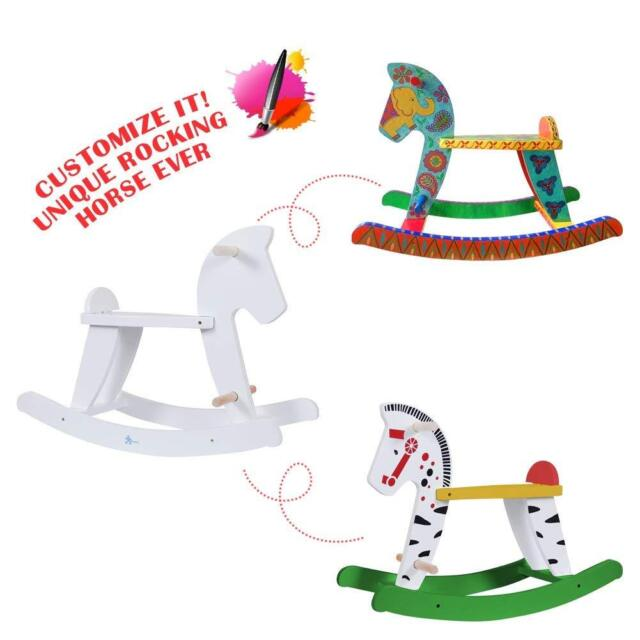 Fantastic Kids Ride On Pony Rocking Horse Toy Playroom Diy White Wooden Horse Rocker Chair Gamerscity Chair Design For Home Gamerscityorg