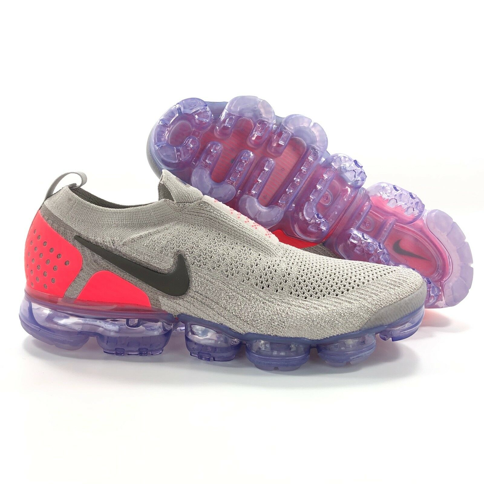 Nike Air Vapormax FK Flyknit Moc 2 Moon Particle Grey Red AH7006-201 Men's 10.5