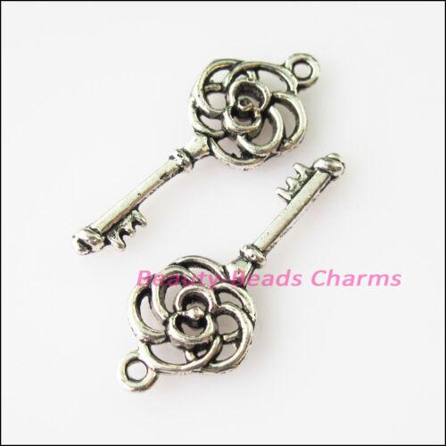 8Pcs Antiqued Silver Tone Flower Keys Charms Pendants 10.5x27mm