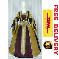 Medieval Renaissance Tudor Wedding Handfasting Larp Gown Dress Costume --- 18j