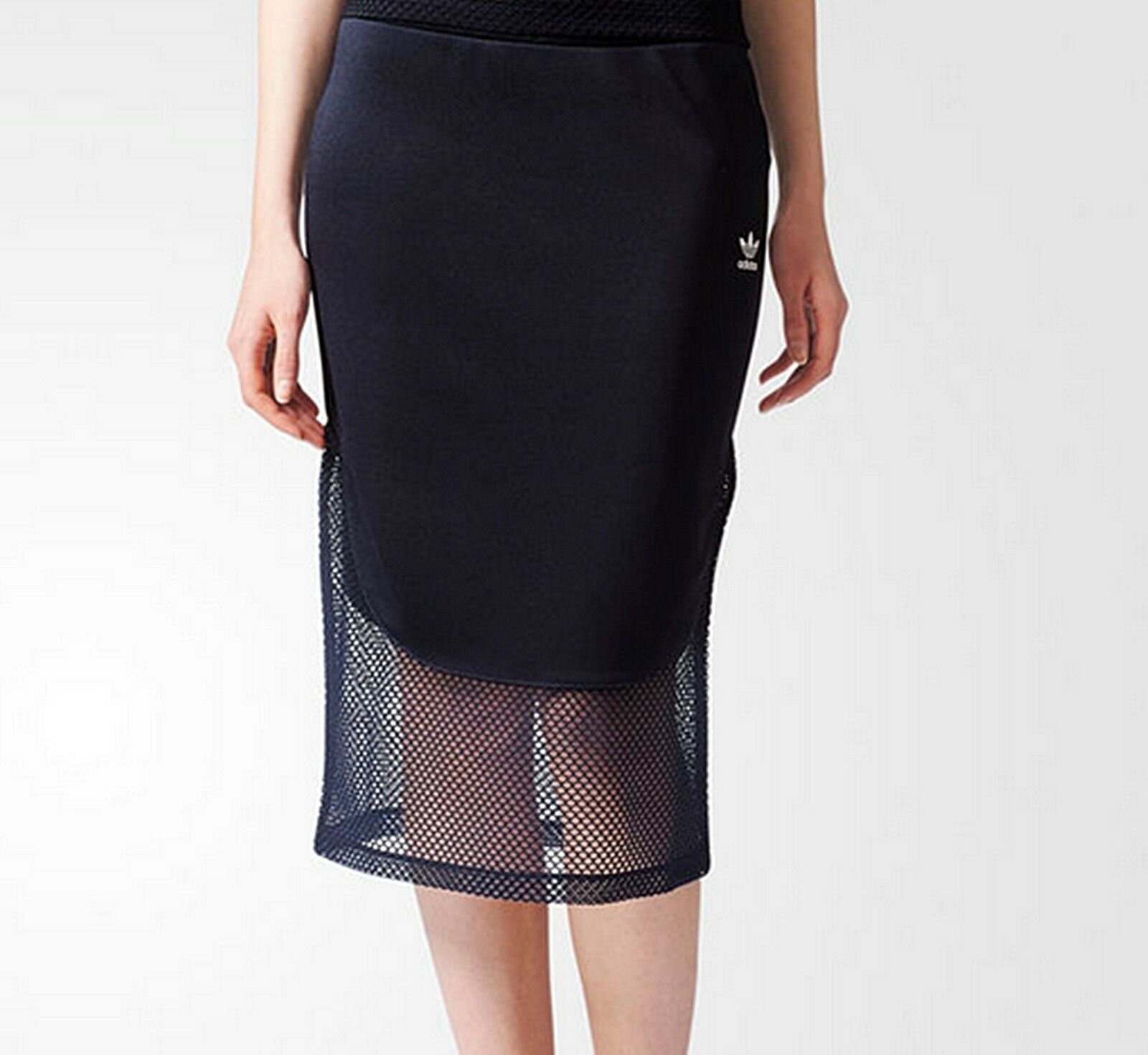 ADIDAS Originals Womens OSAKA Midi Skirt Navy bluee Mesh slim fit trefoil