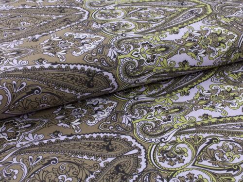 0,5 m Baumwolle Satin Stoff Vintage Orientalisch Ornament Muster grün