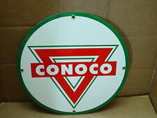 HEAVY ENAMELED  PORCELAIN CONOCO GASOLINE  SIGN GAS STATION PUMP PLATE MOTOR OIL