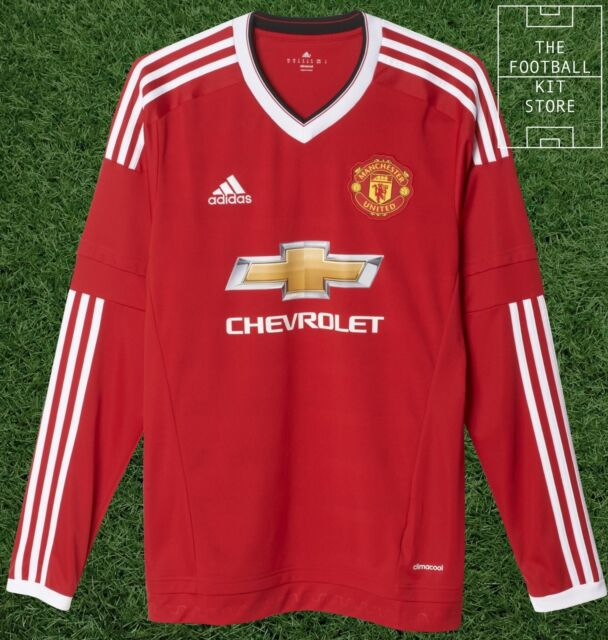 size 40 f080d 5cc56 adidas Manchester United 2015/16 Mens Long Sleeve Home Jersey Shirt Red 2xl