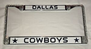 Image is loading Dallas-COWBOYS-FOOTBALL-Bling-License-Plate-Frame-Made-  sc 1 st  eBay & Dallas COWBOYS FOOTBALL Bling License Plate Frame Made With ...