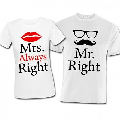 Cuscini Mr Right Mrs Always Right.T Shirt Couple His And Hers Mr Right Mrs Always Right
