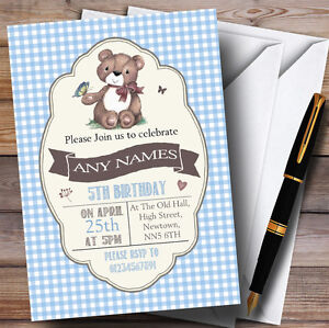 Details About Blue Boys Teddy Bear Picnic Childrens Birthday Party Invitations