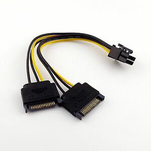 20cm-Dual-SATA-15-Pin-Male-to-PCI-E-6-Pin-Female-Video-Card-Power-Adapter-Cable
