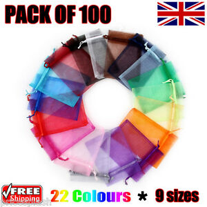 100-x-Organza-Gift-Pouch-Wedding-Favour-Bag-Jewellery-Pouch-23-Colours-amp-9-Sizes
