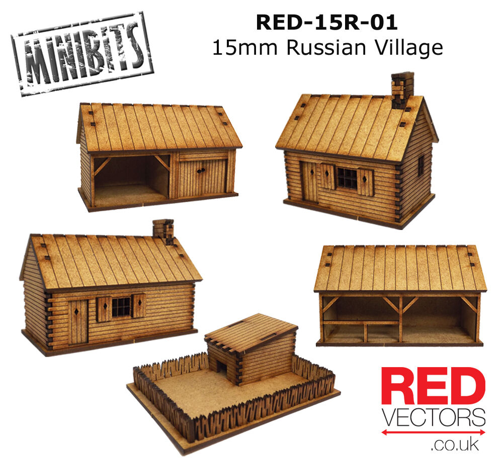 RED-15R-01 - 15mm Wargames - Russe Village (5 Constructions)