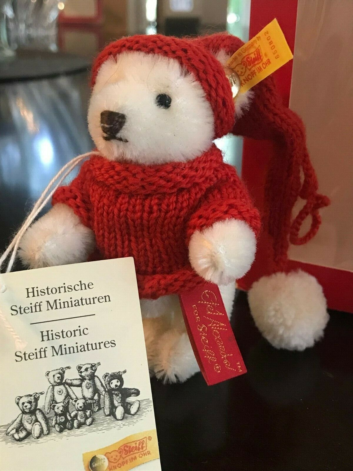Drop  RARE - Steiff HISTORIC Miniature Bear 1985 Model 030000  NIB - COA