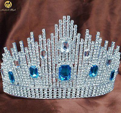 Large Tiara Headpiece Blue Rhinestones Crown Wedding Bridal Beauty Pageant New