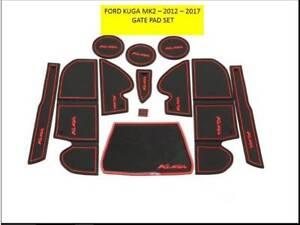 Ford-KUGA-MK2-2013-2017-Panel-Interior-Puerta-Mat-Pad-Trim-Set-Rojo-Solo