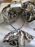 Goody Silky Fabric Wide Head Band Beige With Black Designs Ties In Back Bow