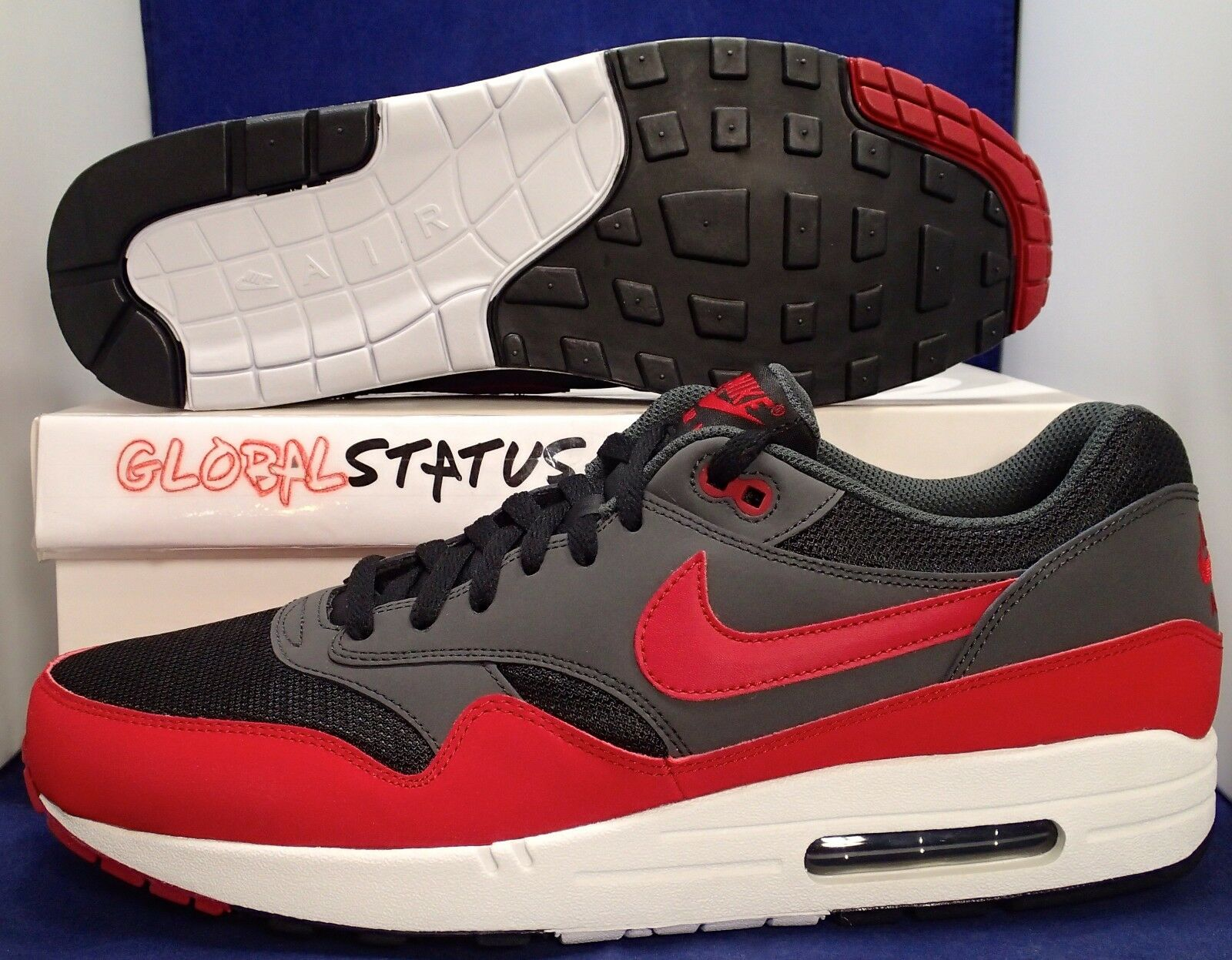 2012 NIKE MENS AIR MAX 1 ESSENTIAL  BRED  BLACK GYM RED SHOES 537383 061 SIZE 13