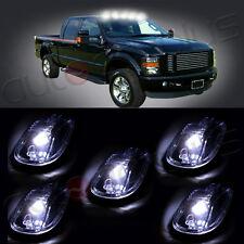 5pcs Smoke Lens + 5x T10 White LED Roof Cab Maker Running Lights For Dodge Ram