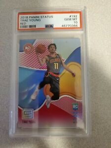 2018-19-PANINI-STATUS-TRAE-YOUNG-ROOKIE-RC-TARGET-RED-PARALLEL-192-PSA-10