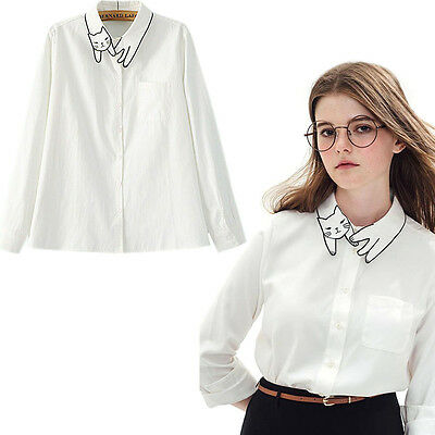 Animal Cat Line Embroidered Shirt Blouse Tops Slim Buttons Collar Loose Vintage