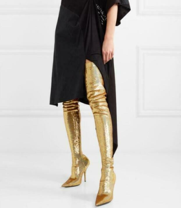 Ladies gold Pointed Toe Over Knee Thigh High Boots Stilettos High Heels Pull On