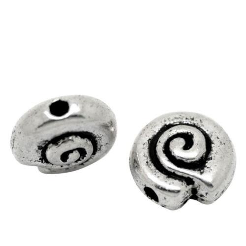 hello-jewelry 100 Antiksilber Rund Spacer Perlen Zwischenteil 8mmD