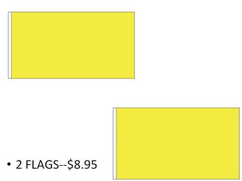 2 Pack-2 Flags USA Seller Free Ship 3x5 FT Solid YELLOW Color Blank Plain Flag
