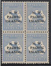 Stamps Kangaroo 6d blue 2nd watermark NWPI overprint SG 88 block of 4, MUH