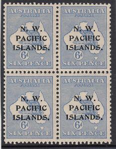 Stamps-Kangaroo-6d-blue-2nd-watermark-NWPI-overprint-SG-88-block-of-4-MUH