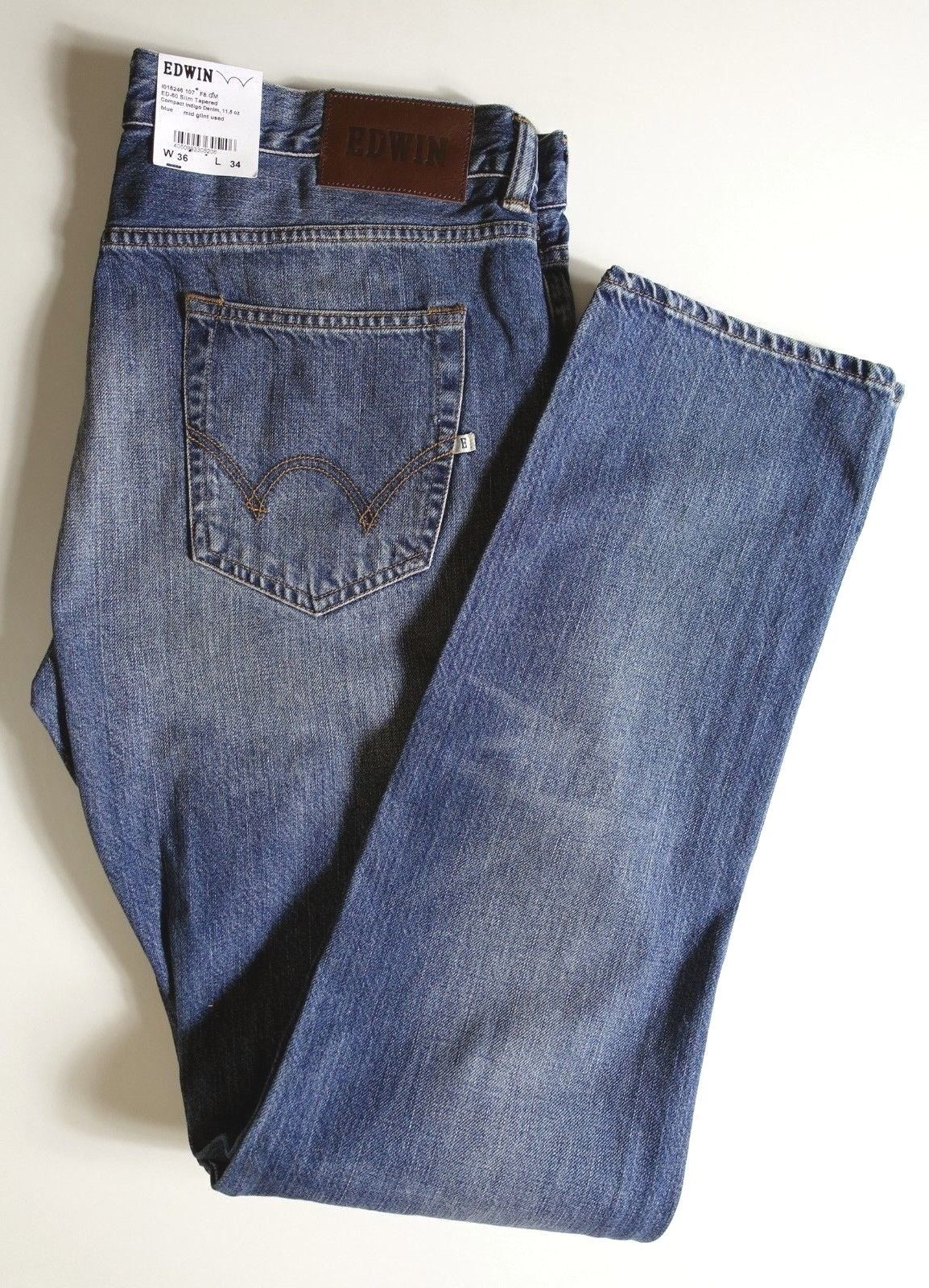 Pantalon Jeans EDWIN neuf étiquette Japan ED-80 slim tapered blue W36 L34