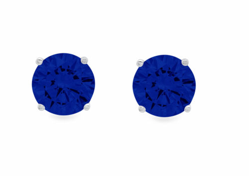 Details about  /1ct Round Cut Designer Simulated Blue Sapphire 18k White Gold Earrings Push Back