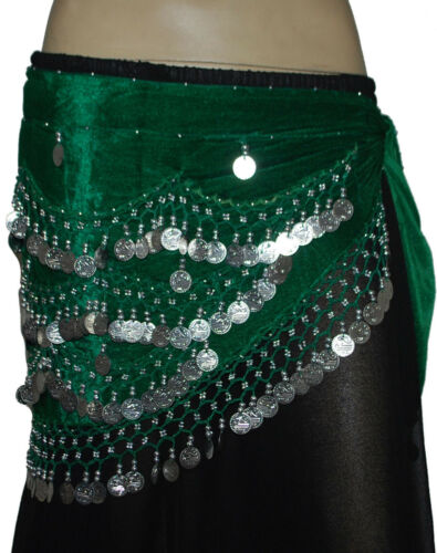 sariskirts SILVER COIN HIP SCARVES BELLY DANCING JINGLY STRETCH VELVET 12 PCS