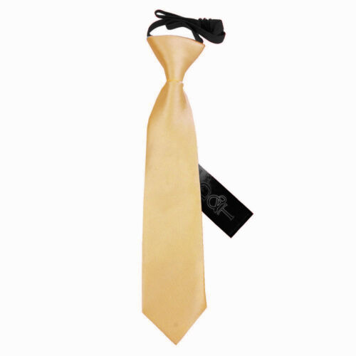 Pale Yellow Boys Elasticated Tie Satin Plain Solid Pre-Tied Necktie by DQT