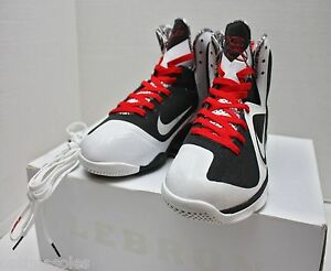 Nike Lebron IX 9 Size 10 - White Black Sport Red - Freegums - 469764 ... 641ba9060