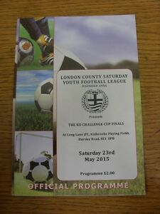 23052015 Programme London County Saturday Youth League Cup Finals At Long La - Birmingham, United Kingdom - 23052015 Programme London County Saturday Youth League Cup Finals At Long La - Birmingham, United Kingdom