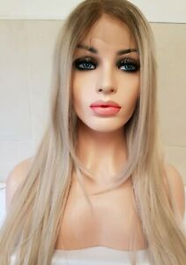 Ash-Sandy-Light-Blonde-Human-Hair-Wig-Lace-Frontal-Ombre-Dark-Roots-Blond