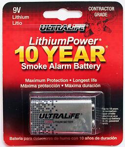 1pc ultralife smoke alarm lithium battery 9v long life metal jacket 10 year. Black Bedroom Furniture Sets. Home Design Ideas