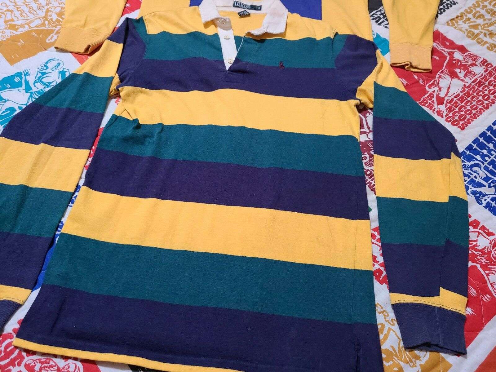 2 Vintage 80s Ralph Lauren Rugby Polo Striped Cot… - image 2