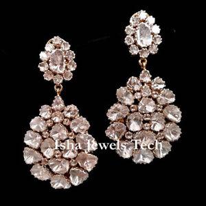 Victorian Natural Uncut Diamond Polki 925 Sterling Silver Earrings