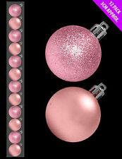 12 x Pale Pink | Blush Christmas tree Baubles Decorations Cute Small Size