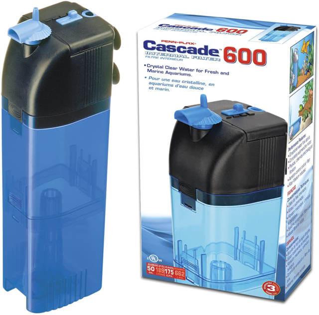 Penn Plax Cascade 600 Submersible Aquarium Filter Cleans Up to 50 GAL Fish Tank