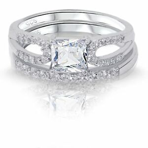 Image Is Loading Princess Cut White Sapphire Engagement Wedding  Sterling Silver